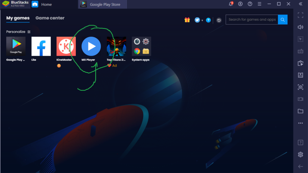 MX Player icon on Bluestacks main screen after installation