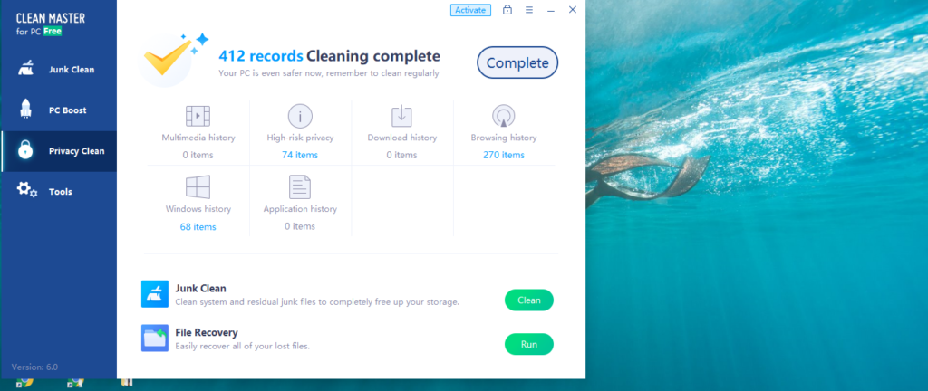 Privacy clean report for pc