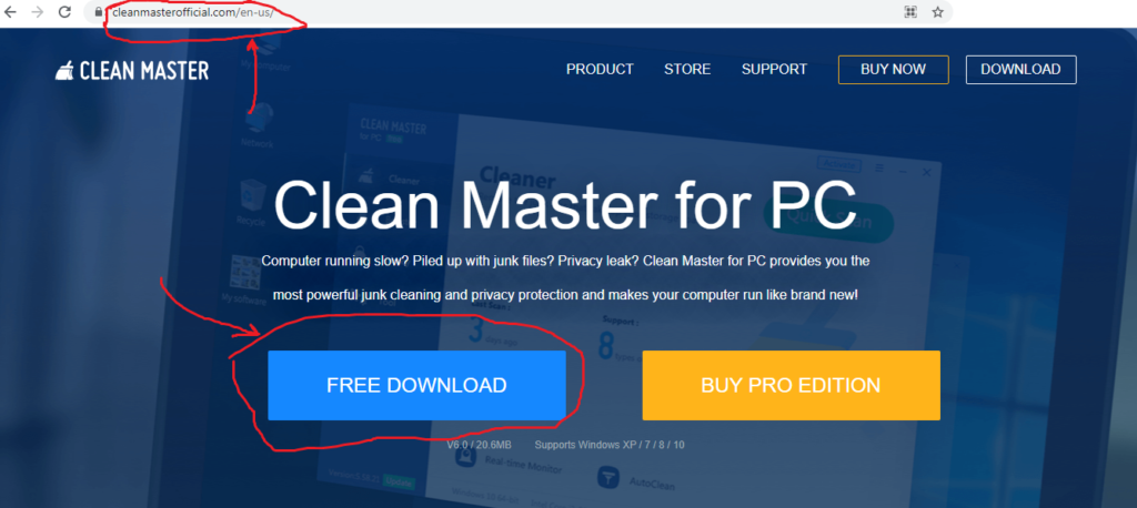 official web site link of clean master for pc windows