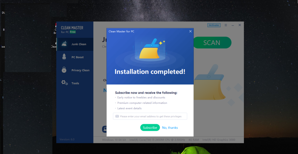 Subscribe for clean master for pc windows 10,8,7,XP,mac