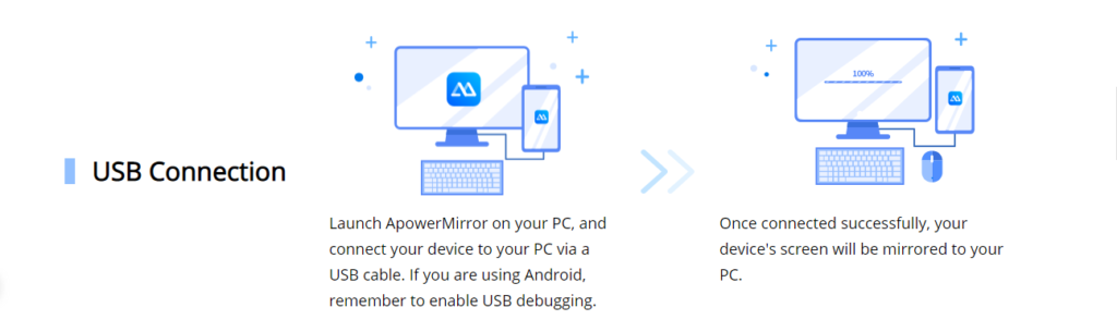 USB-connection-Apowermirror-connection-on-pc